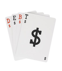 Word DEBT on Playing Cards with Dollar Sign