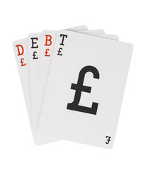 Word DEBT on Playing Cards with Pound Sterling Symbol