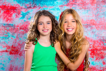 friends beautiful children girls hug together happy smiling