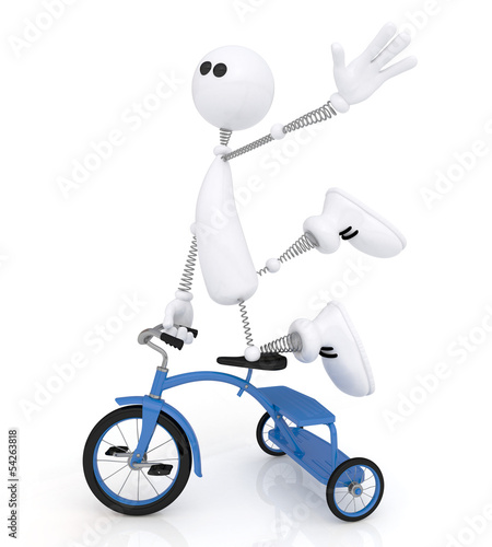 The 3D little man by bicycle.