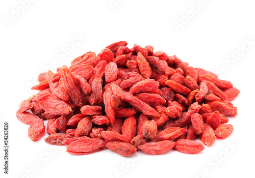 Heap of dried goji isolated on white background