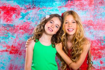 friends beautiful children girls hug together happy smiling
