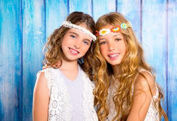 Children friends girls hippie retro style smiling together