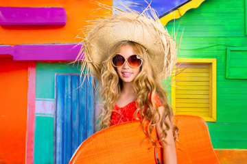 Blond kid surfer girl tropical vacations with sunglasses