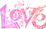Pink LOVE letters with hearts