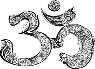 Om symbol, black sketched doodle
