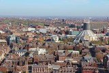Liverpool, UK - aerial view with Metropolitan Cathedral poster
