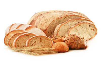 Composition with loafs of bread isolated on white