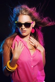 Sensual retro 80s fashion disco girl with long blonde hair and s poster