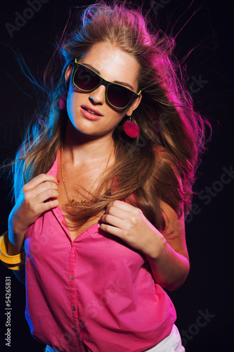 poster of Sensual retro 80s fashion disco girl with long blonde hair and s