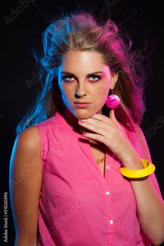 poster of Beautiful retro 80s fashion disco girl with long blonde hair and