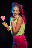 Happy retro 80s fashion disco girl with blonde hair and lollipop poster