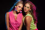 Two sexy retro 80s fashion girls with long blonde hair. Twin sis poster
