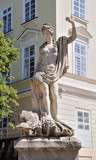 An ancient statue of Amphitrite in the central square of Lviv -