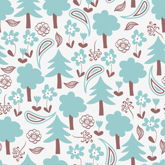 Seamless pattern with cute forest