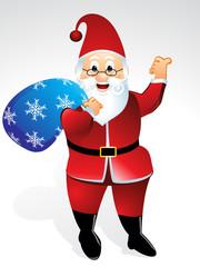 santa cartoon with gift bag