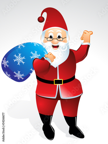 santa cartoon with gift bag