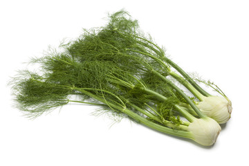 Whole fennel bulbs with green foliage