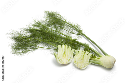 Whole and half fennel bulb