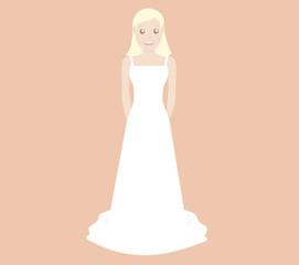Blonde bride with hands behind back