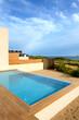 Swimming pool by luxury sea view villa, Peloponnes, Greece