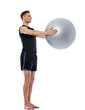 Man doing exercise with fit-ball