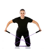 woman with rubber resistance band