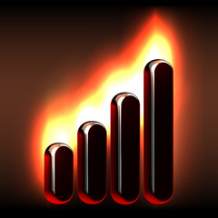 Burning market stock chart icon