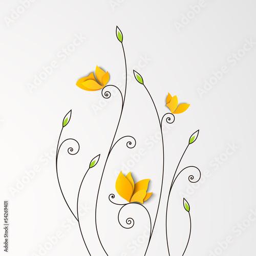 kwiecisty-tlo-z-papierowymi-motylami
