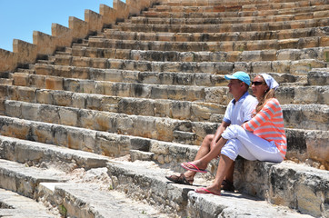 A couple in the Kourion's amphiteater. Cyprus