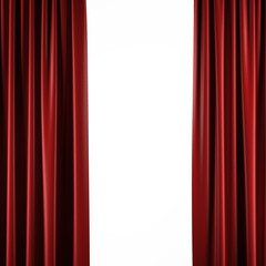 Red curtains on white