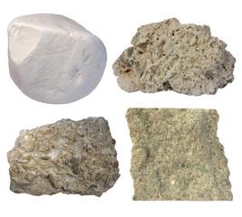 Limestone collage (chalk, tufa, fossiliferous limestone, grainst
