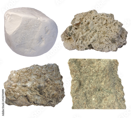 Limestone collage (chalk, tufa, fossiliferous limestone, grainst