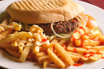 Beef Cheese Hamburger with French Fries