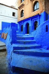 Stairs of moroccan blue town Chefchaouen medina