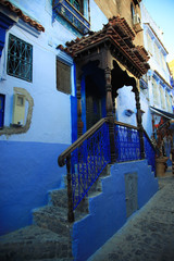 Moroccan gate of the house, blue town Chefchaouen, Morocco