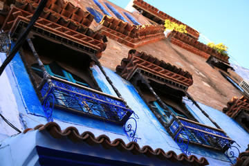 Windows in blue town Chefchaouen, Morocco