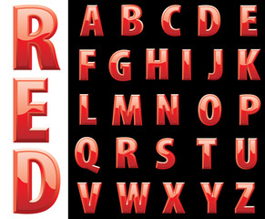 red shiny alphabet