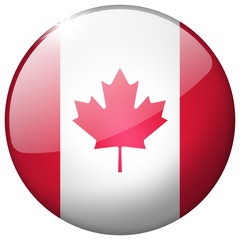 Canada Round Glass realistic isolated flag