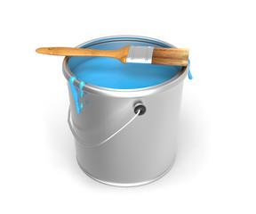 Cubo de pintura con pincel