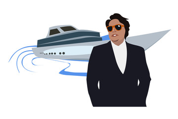 A rich man against yachts