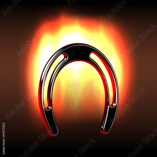 Lucky horseshoe over fire