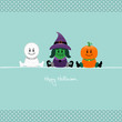 Halloween Mummy, Witch & Pumpkin Retro Dots