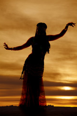 belly dancer purple silhouette facing