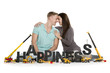 Happy smiling woman and man building happiness-word.