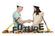 Joyful man and woman building up their future.