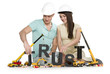 Establishing trust: Young smiling couple with machines building