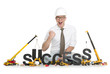 Having success: Businessman building success-word.