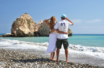 A couple looking to the coastline of Cyprus