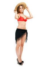 Full length woman in bikini isolated on white